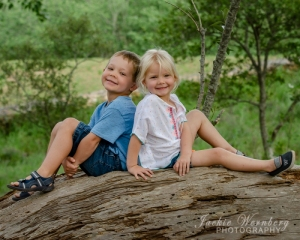 young-siblings-on-log