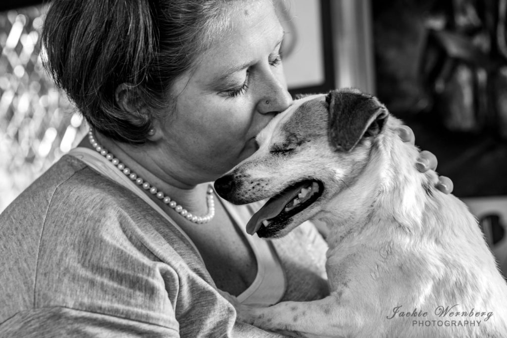 Old dog and owner moment